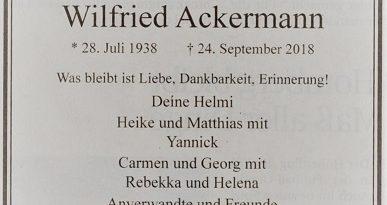 Wilfried Ackermann ist mit 80 Jahren gestorben